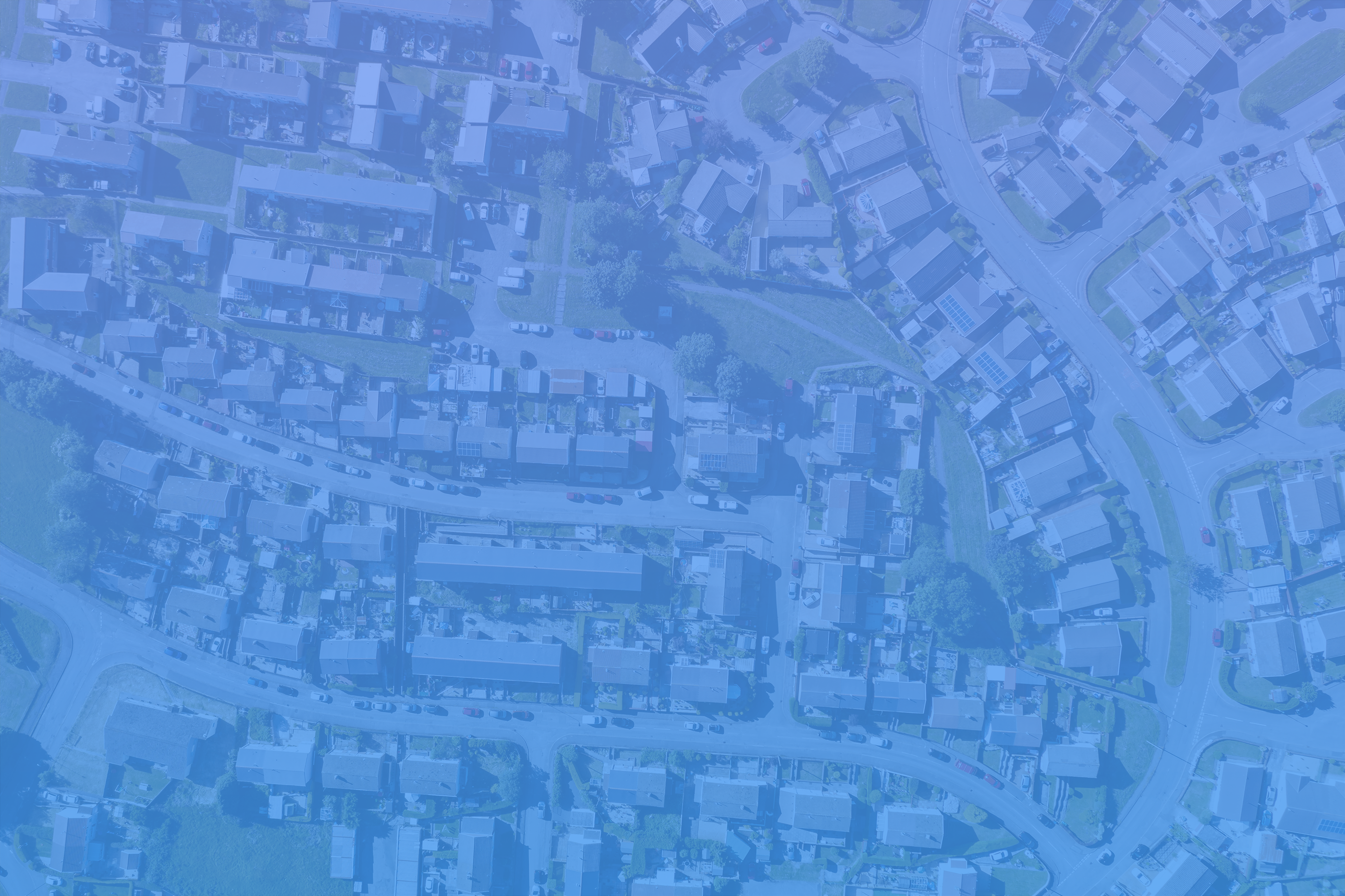 real estate leads birds eye view neighborhood blue ovrly